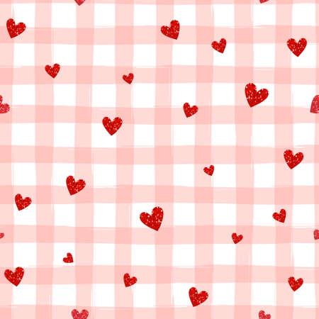 Rote Herzen auf einem gestreiften nahtlose Muster