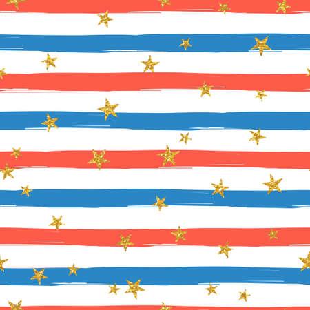EE.UU. Independencia jornada festiva del vector patrón repetible basado en la bandera americana. Rayas con estrellas de oro