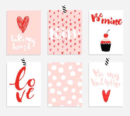 6 de San Valentín Colección de las tarjetas del día con las letras dibujado a mano. elementos de diseño de cepillo. moderna letras textura de la acuarela mano.