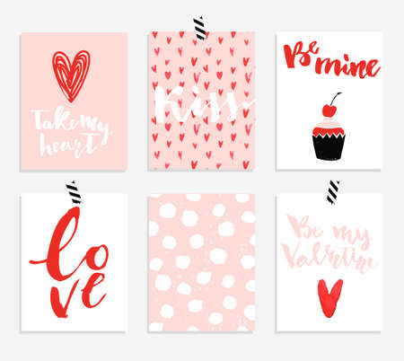 6 Valentines day cards collection with hand drawn lettering. Brush design elements. Handwritten modern watercolor textured lettering. Иллюстрация