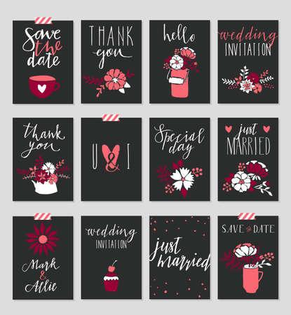 Collection de 12 modèles de cartes mignonnes. jour, épouser, mariage de Saint-Valentin, faites gagner la date, baby shower, poster nuptiale, anniversaire. conception simple élégant avec des paillettes d'or texture. Vector illustration.