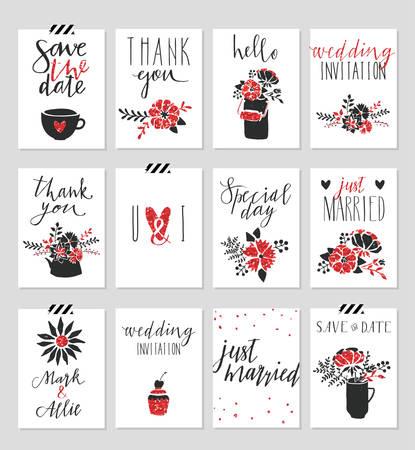 Colección de 12 plantillas de tarjeta linda. San Valentín día, el casarse, boda, ahorre la fecha, ducha bebé, nupcial, cartel de cumpleaños. diseño simple con estilo con el brillo del oro textura. Ilustración del vector. Foto de archivo - 51837414