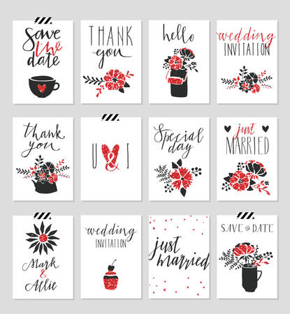Collection of 12 cute card templates. Valentines day, wedding, marriage, save the date, baby shower, bridal, birthday poster. Stylish simple design with gold glitter texture. Vector illustration.