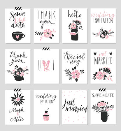 cute baby: Collection of 12 cute card templates. Valentines day, wedding, marriage, save the date, baby shower, bridal, birthday poster. Stylish simple design with gold glitter texture. Vector illustration.