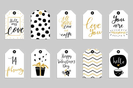 cute: Collection of ten gold texture Valentine day cute ready-to-use gift tags. Set of 10 printable romantic hand drawn holiday label in black white and gold. Vector love badge design