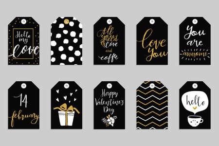 holidays: Collection of ten gold texture Valentine day cute ready-to-use gift tags. Set of 10 printable romantic hand drawn holiday label in black white and gold. Vector love badge design