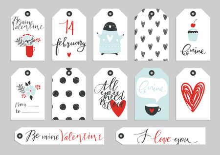 Set Der Valentinstag Typographischen Geschenk Tags Und Labels In