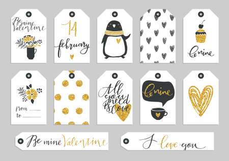 Set of Valentines Day typographic gift tags and labels in gold. For greeting card, poster, menu, party invitation, social media, web banner, gift wrapping paper, planner, diary, notes Ilustração