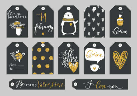 paper tags: Set of Valentines Day typographic gift tags and labels in gold. For greeting card, poster, menu, party invitation, social media, web banner, gift wrapping paper, planner, diary, notes Illustration