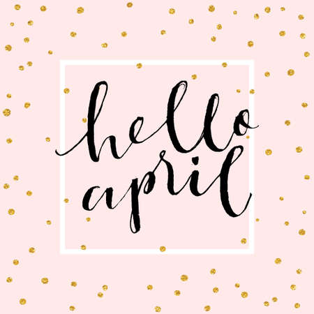 Cute spring floral card template Hello April. Perfect for invitation, scrapbooking, web, card, blog, sale, calendar cover, notes and many other. Vector illustration Illustration