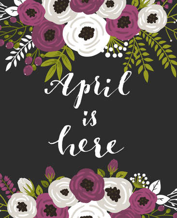 invitation card: Cute spring floral card template Hello April. Perfect for invitation, scrapbooking, web, card, blog, sale, calendar cover, notes and many other. Vector illustration Illustration