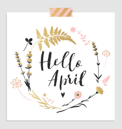 flower borders: Cute spring floral card template Hello April. Perfect for invitation, scrapbooking, web, card, blog, sale, calendar cover, notes and many other. Vector illustration Illustration