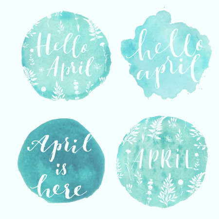Watercolor splatters with typography hello april and floral ornament. Vector illustration. Isolated on white background