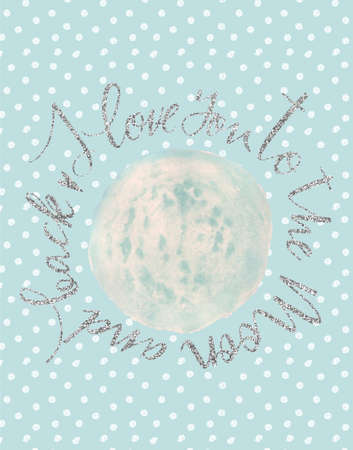 I love you to the moon and back poster. Watercolor moon illustration, polka dot pattern and hand written lettering. Perfect for scandinavian interior