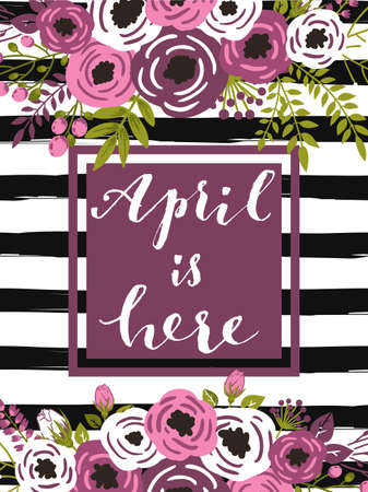 pink stripes: Cute spring floral card template Hello April. Perfect for invitation, scrapbooking, web, card, blog, sale, calendar cover, notes and many other. Vector illustration Illustration