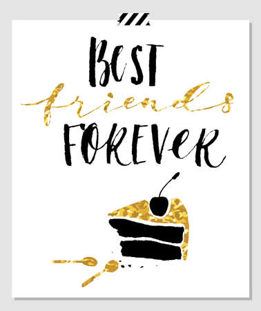 bff: Best friend forever. Hand lettering quote on a white vector background with gold glitter texture