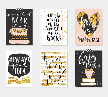 Happy Book Day's 6 Gold Cards Collection. Set of card templates for those who love books. Vector illustration. Template for Greeting Scrapbooking, Congratulations, Invitations, Tags.