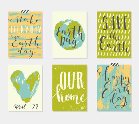 love of planet: Happy Earth Days 6 Cards Collection. Set of card templates for those who love the planet. Vector illustration. Template for Greeting Scrapbooking, Congratulations, Invitations, Tags. Illustration