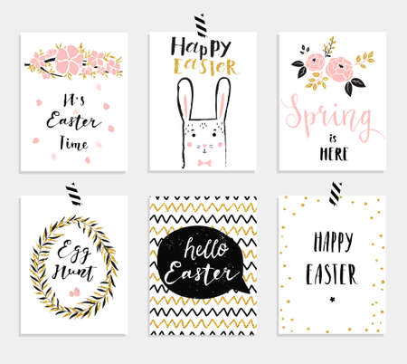 pink flowers: Set of 6 cute Easter greeting cards. Template for invitations, banners, planner, gift tags, diary, notes. Stylish spring design. Vector illustration.