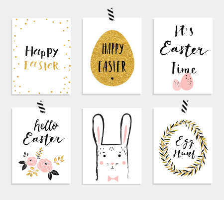 8 easter gift tags with cute easter bunny watering can with set of 6 cute easter greeting cards template for invitations banners planner negle Image collections