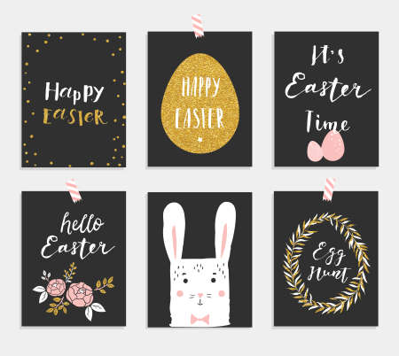 chik: Set of 6 cute Easter greeting cards. Template for invitations, banners, planner, gift tags, diary, notes. Stylish spring design. Vector illustration.