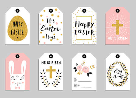 Set with happy easter gift tags and cards with calligraphy negle Choice Image
