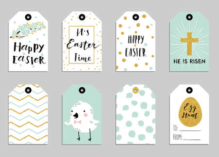 Easter gift tags with cute Easter bunny, watering can with flowers and Easter greetings. Set of bright holiday labels.
