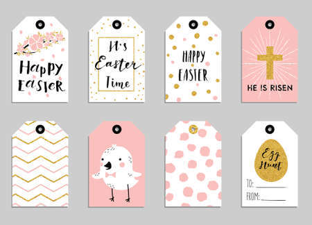 8 easter gift tags with cute easter bunny watering can with easter gift tags with cute easter bunny watering can with flowers and easter greetings negle Images
