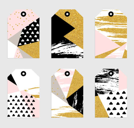 sharpen: 6 Abstract hand drawn geometric greeting tags with glitter, sharpen textures, brush painted elements. Cute labels template. Gold, blue, black and white colors. Illustration