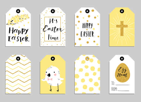 Easter gift tags with cute easter bunny watering can with flowers 8 easter gift tags with cute easter bunny watering can with flowers and easter greetings negle Image collections