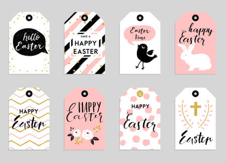 8 Easter gift tags with cute Easter bunny, watering can with flowers and Easter greetings. Set of bright holiday labels.