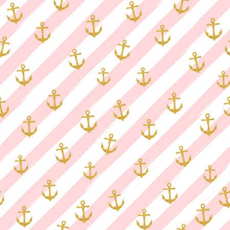 Pretty Summer seamless pattern template. Gold glitter confetti on striped background. Vector illustration. Vettoriali