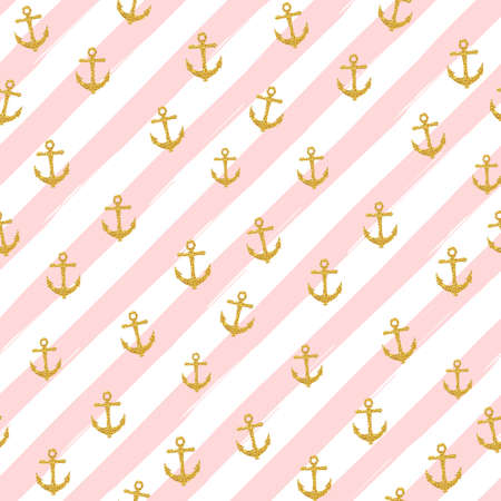 Pretty Summer seamless pattern template. Gold glitter confetti on striped background. Vector illustration. Çizim