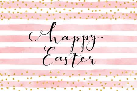 Pretty Easter card template. Gold glitter confetti on striped watercolor background. Vector illustration. Ilustração