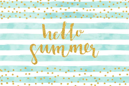 Pretty Summer card template. Gold glitter confetti on striped watercolor background. Vector illustration.