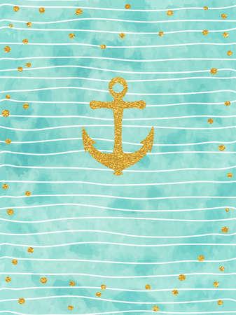 background summer: Pretty Summer card template. Gold glitter confetti on striped watercolor background. Vector illustration.