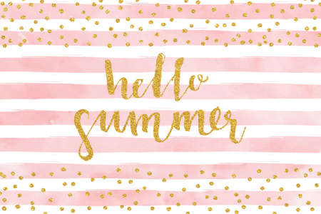 text pink: Pretty Summer card template. Gold glitter confetti on striped watercolor background. Vector illustration.