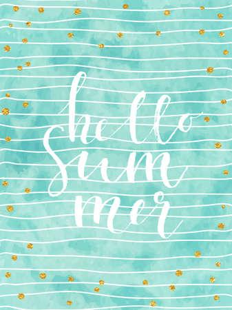 Pretty Summer card template. Gold glitter confetti on striped watercolor background. Vector illustration.