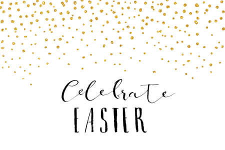 Pretty Easter card template. Gold glitter confetti on white background. Vector illustration. Vettoriali