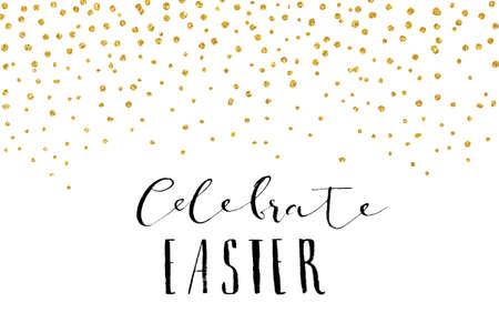 gold egg: Pretty Easter card template. Gold glitter confetti on white background. Vector illustration. Illustration