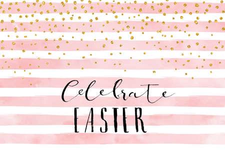 celebration: 漂亮的復活節卡片模板。在條紋水彩背景金色亮粉的紙屑。矢量插圖。