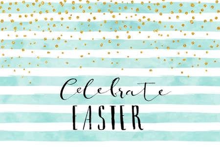 Pretty Easter card template. Gold glitter confetti on striped watercolor background. Vector illustration.  イラスト・ベクター素材