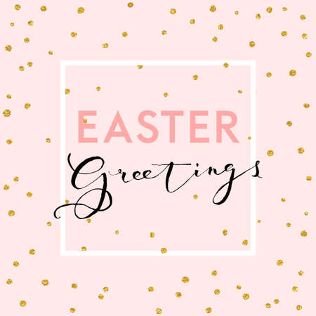 Pretty Easter card template. Gold glitter confetti on pink background. Vector illustration.