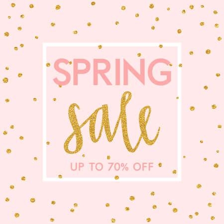 Bright spring easter sale design with gold confetti. Vector design