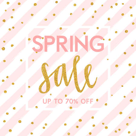 pink background: Bright spring easter sale design with gold confetti. Vector design