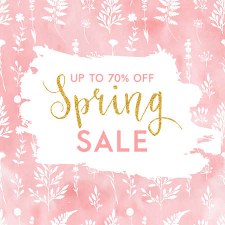 Bright spring easter sale design with gold confetti. Vector design