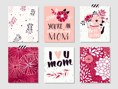 Collection of 6 cute card templates for Mothers Day.Stylish simple design with shabby texture. Stylish spring design. Vector illustration.