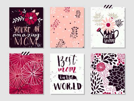 母亲节的6个逗人喜爱的纸板模板的汇集.stylish简单的设计与破旧的纹理。时尚的春天设计。矢量插图。