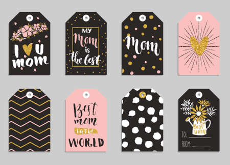 mothers day: Greeting cards collection for Mothers day. Cute tags with flowers, lettering and other things on gold texture. Set of bright holiday invitations. Illustration