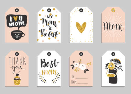 Greeting cards collection for Mothers day. Cute tags with flowers, lettering and other things on gold texture. Set of bright holiday invitations. Illustration